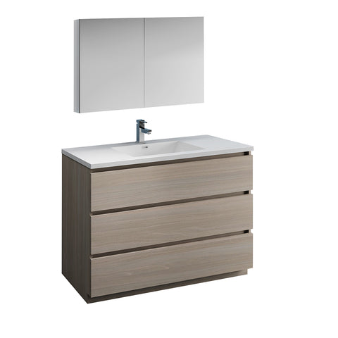 "Image of Fresca Lazzaro 48"" Gray Wood Free Standing Modern Bathroom Vanity w/ Medicine Cabinet"