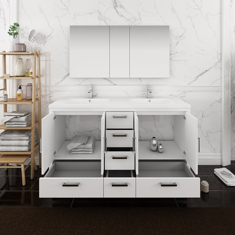 "Fresca Imperia 60"" Glossy White Free Standing Double Sink Modern Bathroom Vanity w/ Medicine Cabinet"