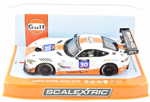 "Scalextric ""Gulf"" Mercedes AMG GT3 DPR W/ Lights 1/32 Scale Slot Car C3853"