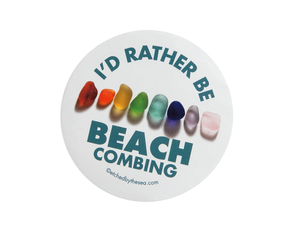 I'd Rather Be Beachcombing Rainbow Sea Glass Round Bumper/Laptop Sticker - FREE U.S. Shipping