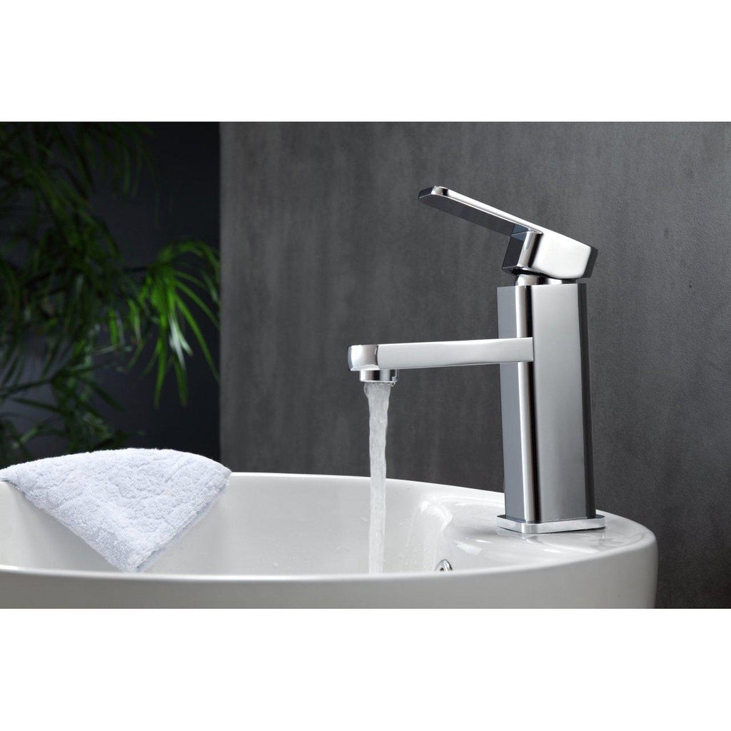 Aqua Soho Single Hole Mount Bathroom Vanity Faucet- Chrome