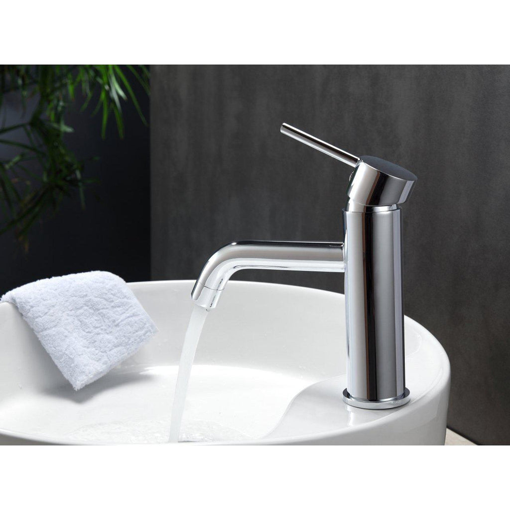 Aqua Rondo Single Hole Mount Bathroom Vanity Faucet- Chrome