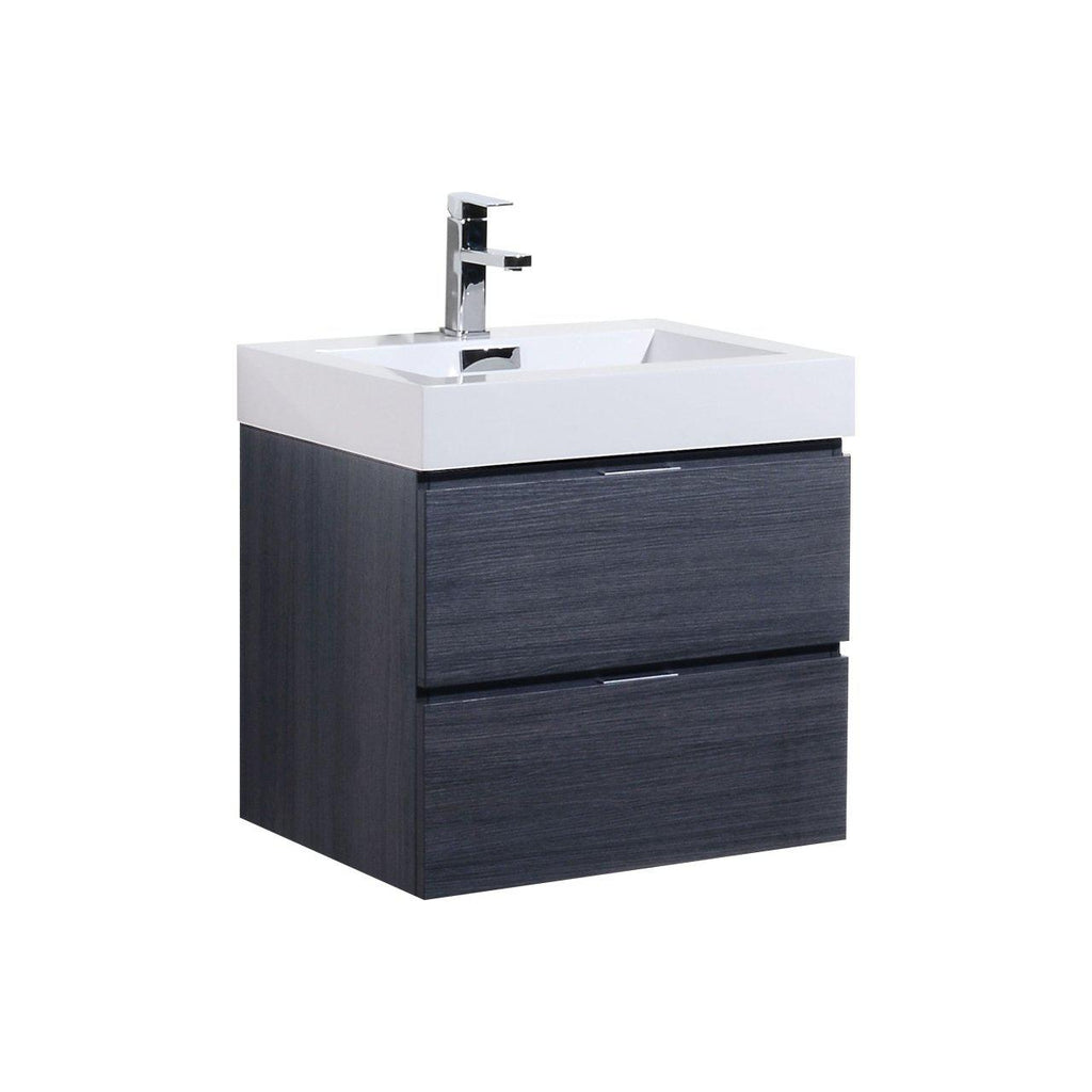 "KubeBath Bliss 24"" Gray Oak Floating Vanity - The Modern Vanity"