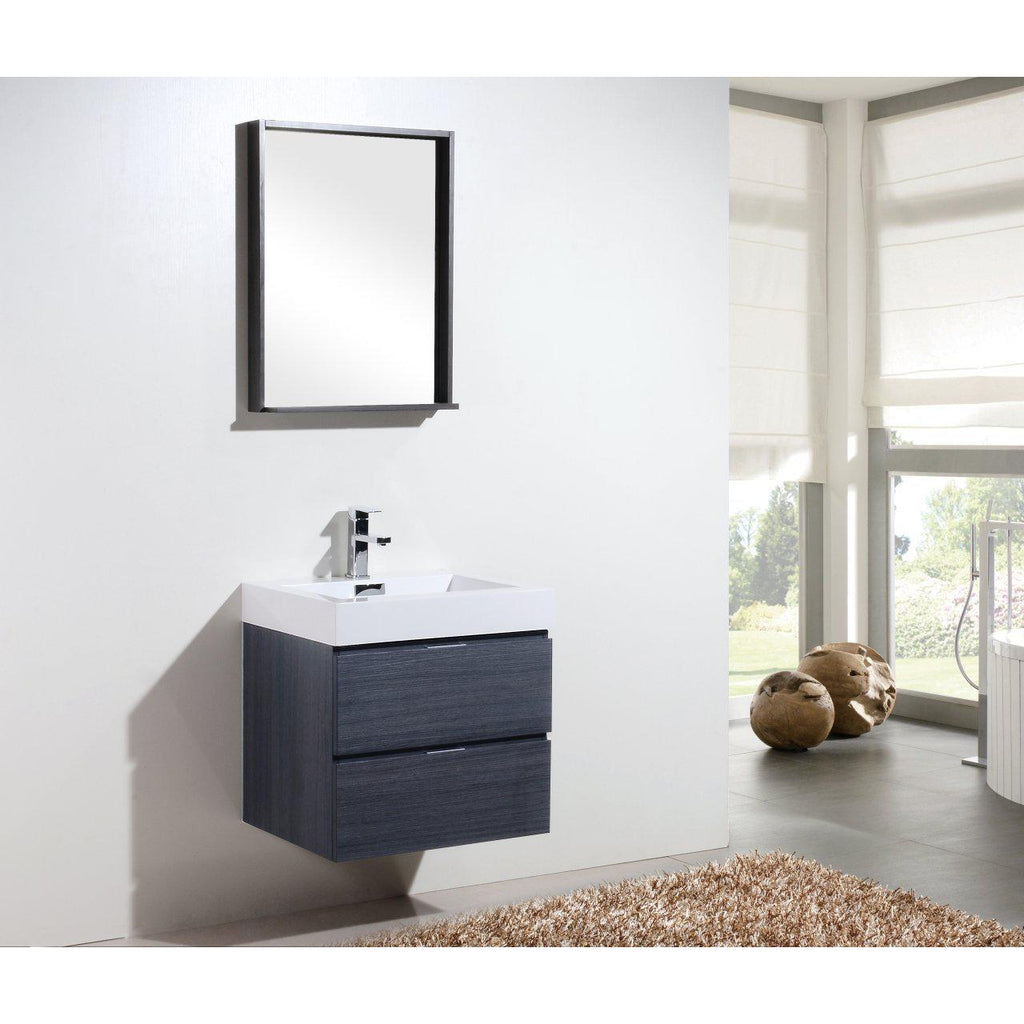 "KubeBath Bliss 24"" Gray Oak Floating Vanity"