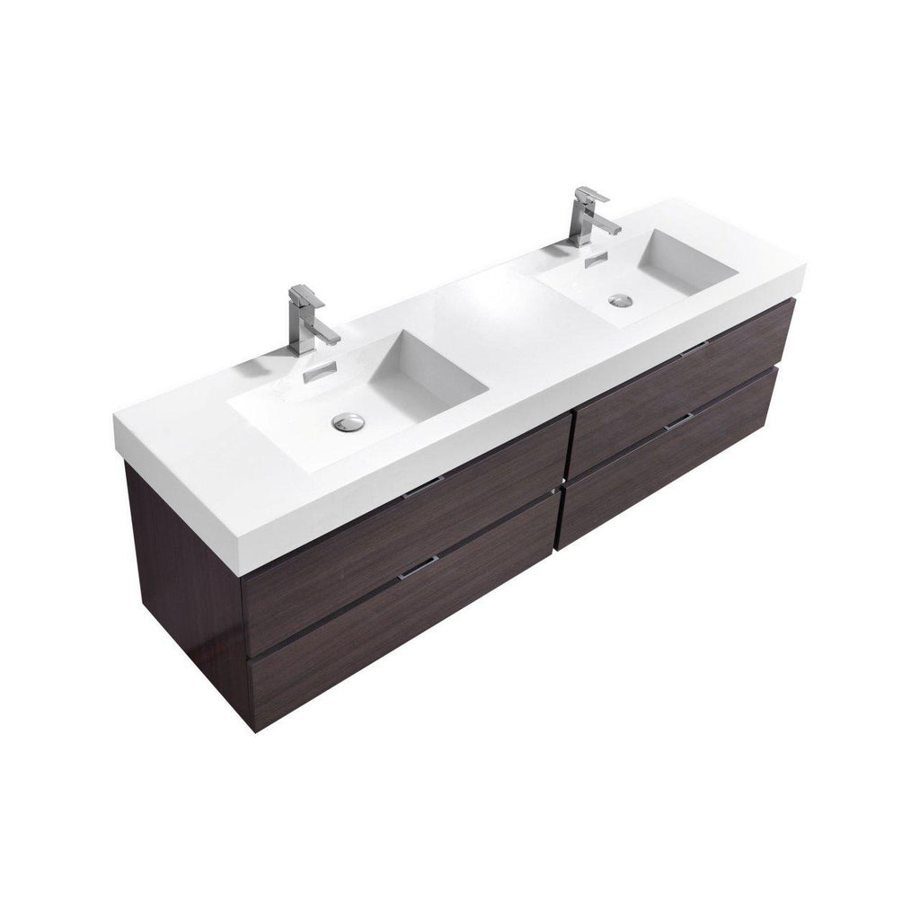 "KubeBath Bliss 72"" Double Sink High Gloss Gray Oak Floating Vanity - The Modern Vanity"