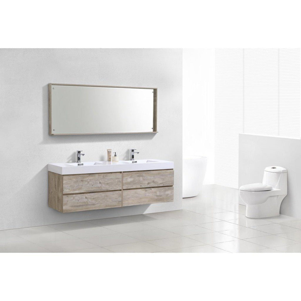 "KubeBath Bliss 72"" Double Sink Nature Wood Floating Vanity"