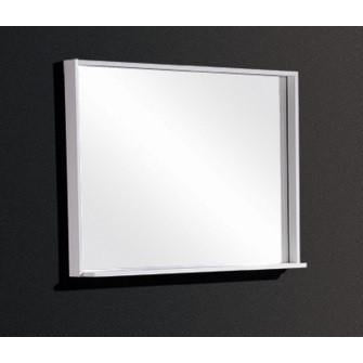"Bliss 28"" Framed Mirror With Shelf- Gloss White Finish"