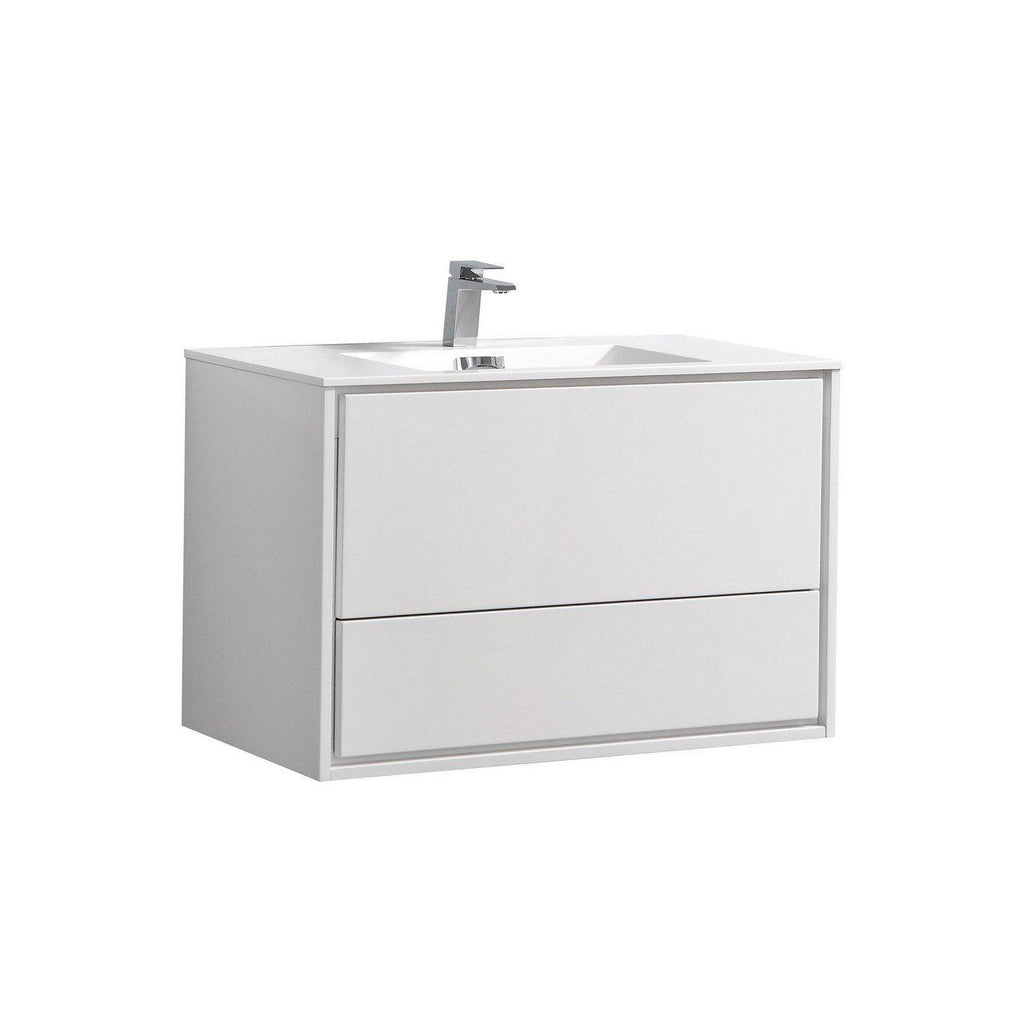 "KubeBath DeLusso 36"" High Glossy White Floating Vanity - The Modern Vanity"