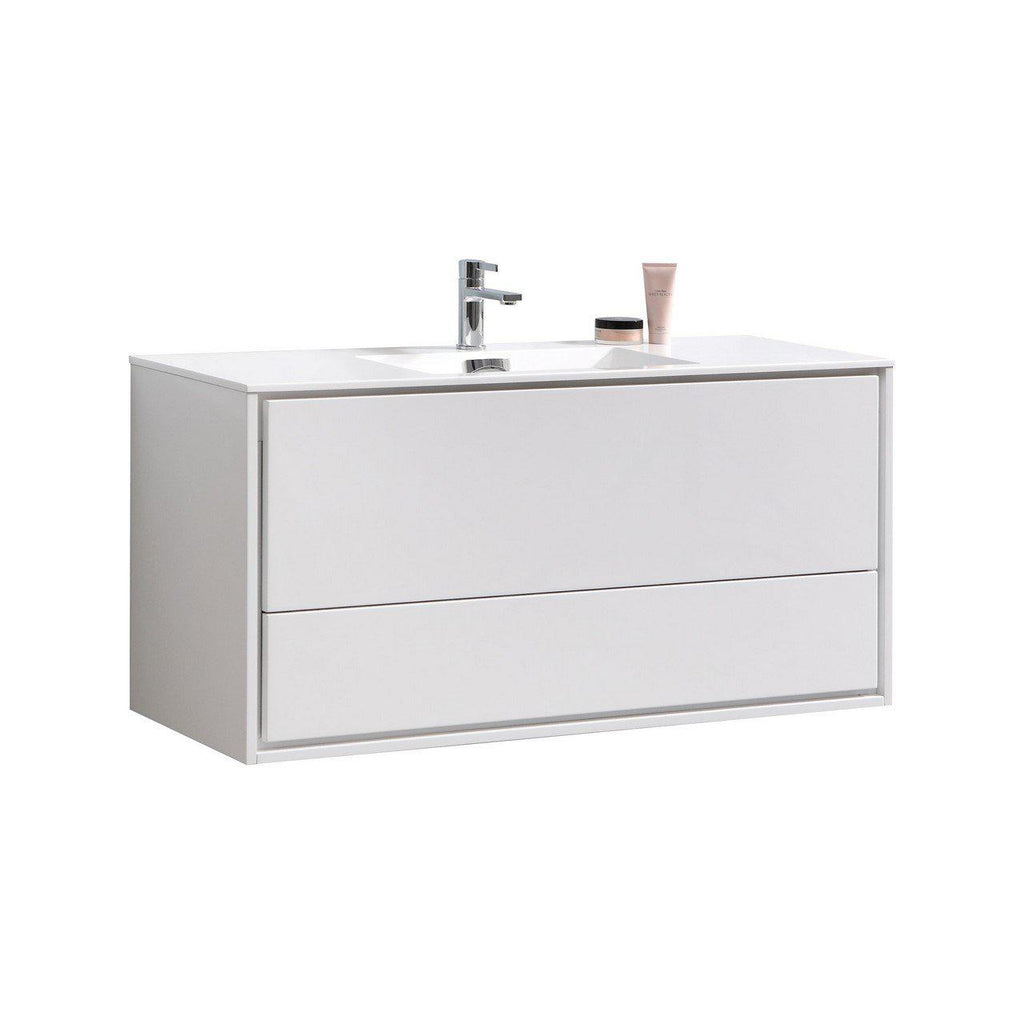 "KubeBath DeLusso 48"" Single Sink High Glossy White Floating Vanity - The Modern Vanity"