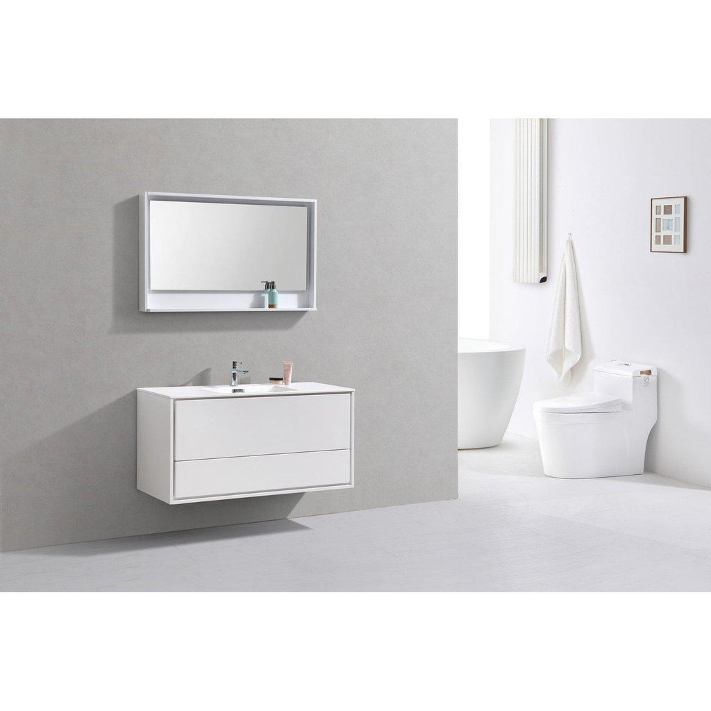 "KubeBath DeLusso 48"" Single Sink High Glossy White Floating Vanity"