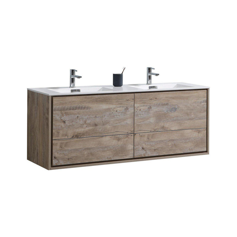 "KubeBath Bliss 60"" Single Sink Gray Oak Free Standing Bathroom Vanity"