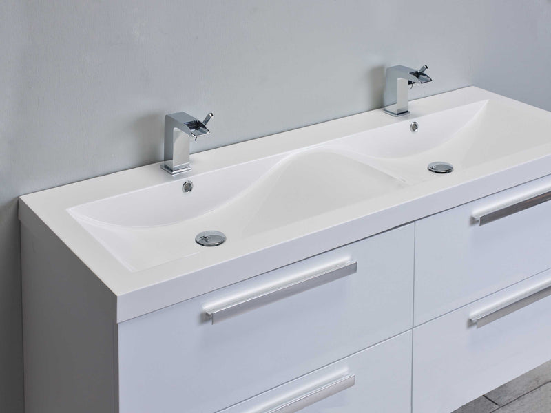 "Eviva Surf 57"" White Modern Bathroom Vanity Set with Integrated White Acrylic Double Sink"