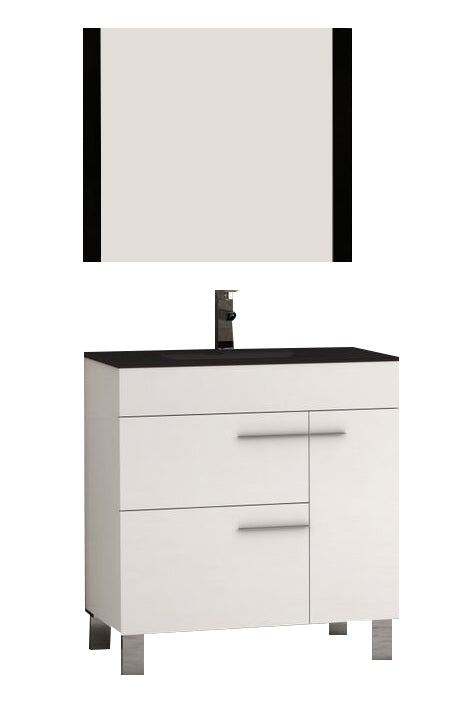 "Eviva Cup 31.5"" White Modern Bathroom Vanity with White Integrated Porcelain Sink"