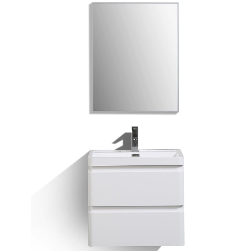 "Eviva Glazzy 24"" Wall Mount Modern Bathroom Vanity (High Glossy White)"