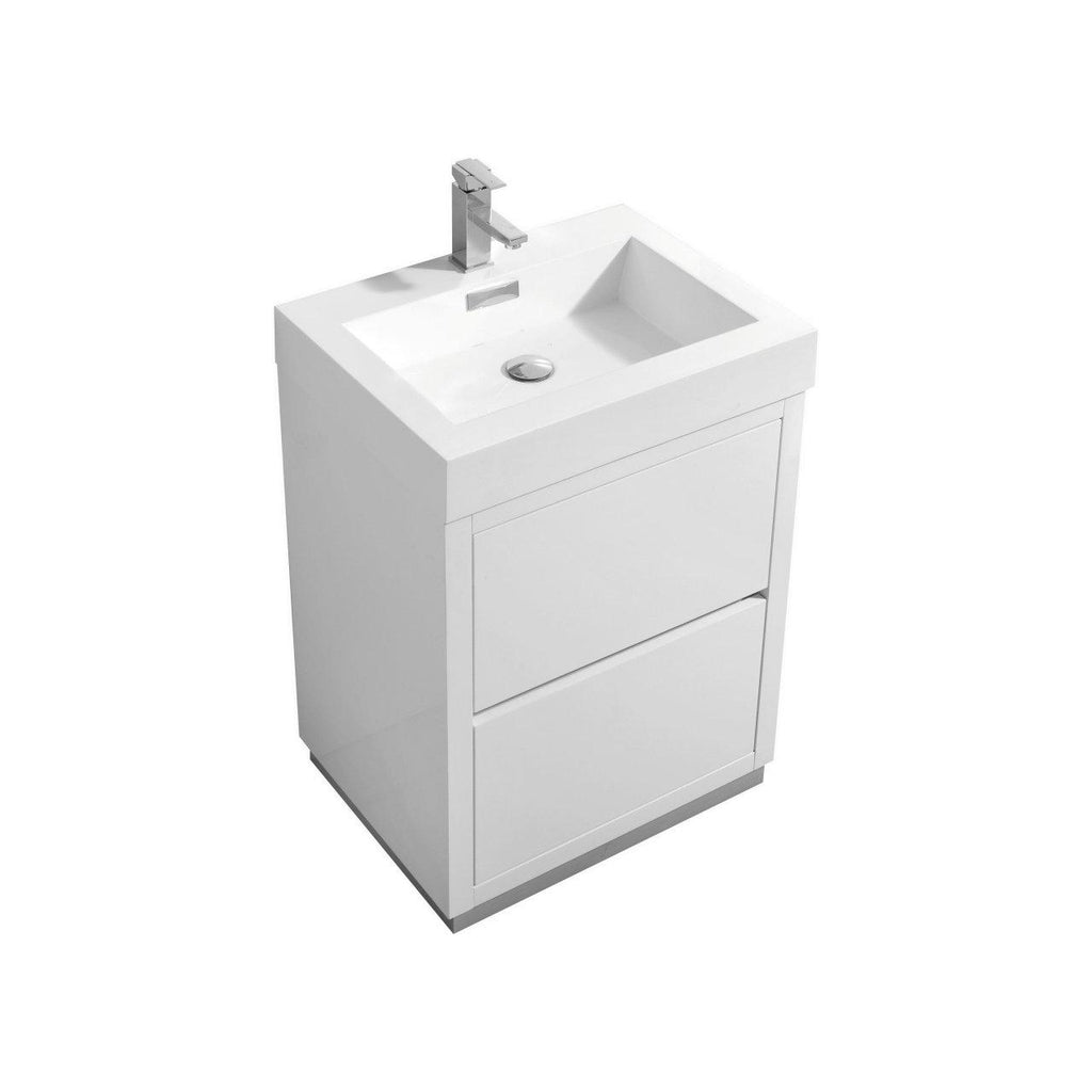 "KubeBath Bliss 24"" High Gloss White Free Standing Bathroom Vanity - The Modern Vanity"