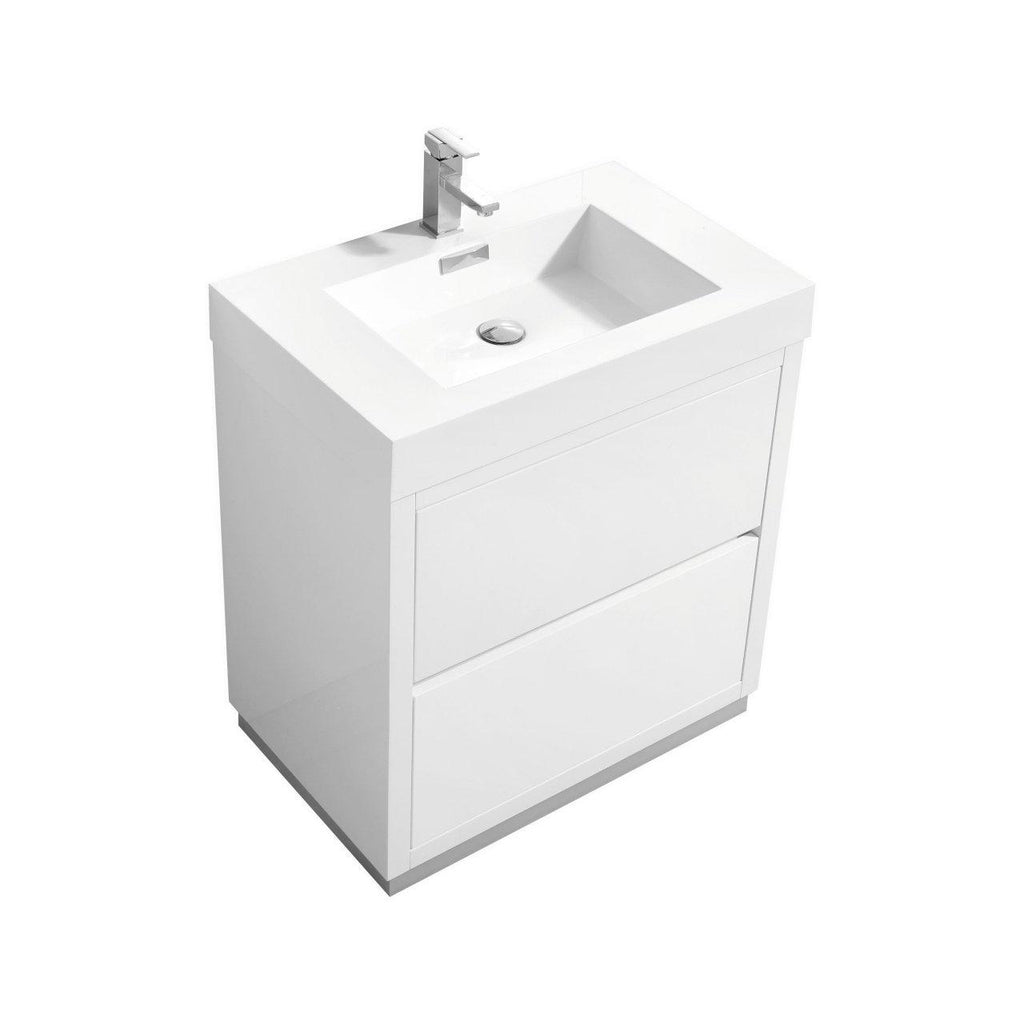"KubeBath Bliss 30"" High Gloss White Floating Vanity - The Modern Vanity"