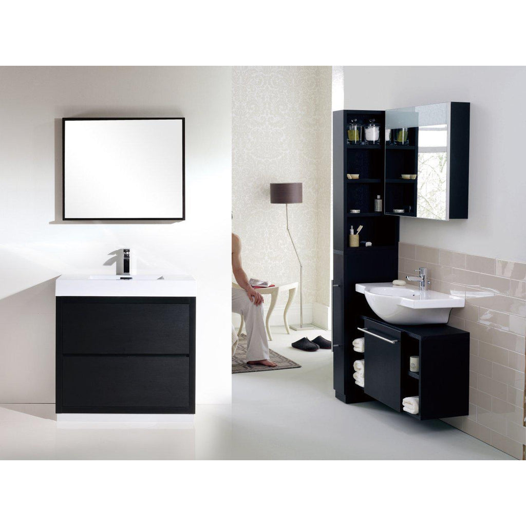 "KubeBath Bliss 40"" Black Free Standing Bathroom Vanity"