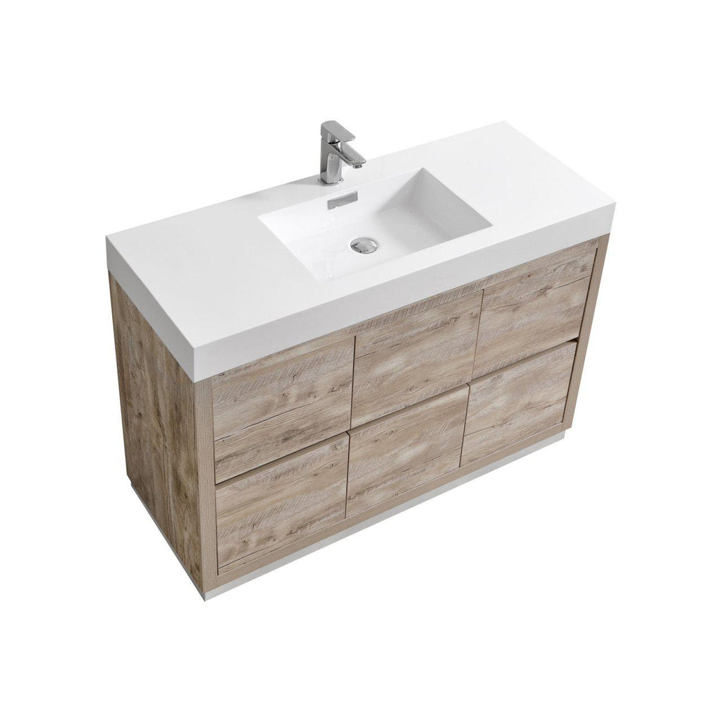 "KubeBath Bliss 48"" Nature Wood Free Standing Bathroom Vanity - The Modern Vanity"
