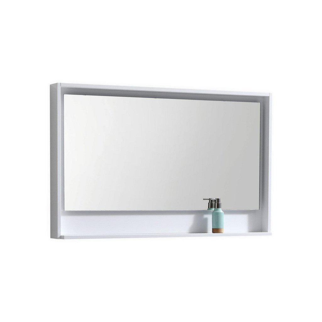 "Bosco 48"" Framed Mirror With Shelf- Gloss White Finish"