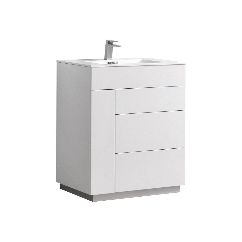 "KubeBath Milano 30"" High Glossy White Floating Vanity - The Modern Vanity"