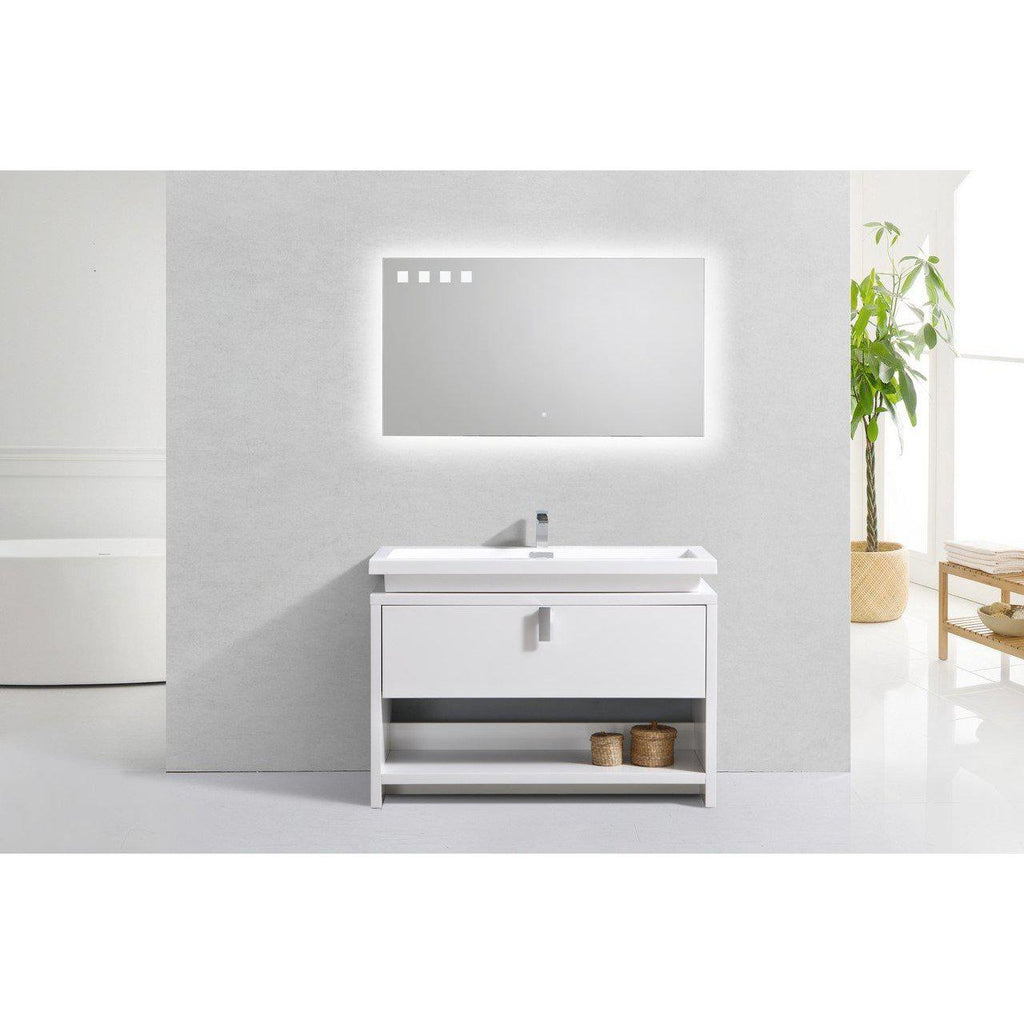 "KubeBath Levi 48"" High Gloss White Bathroom Vanity w/ Cubby Hole"