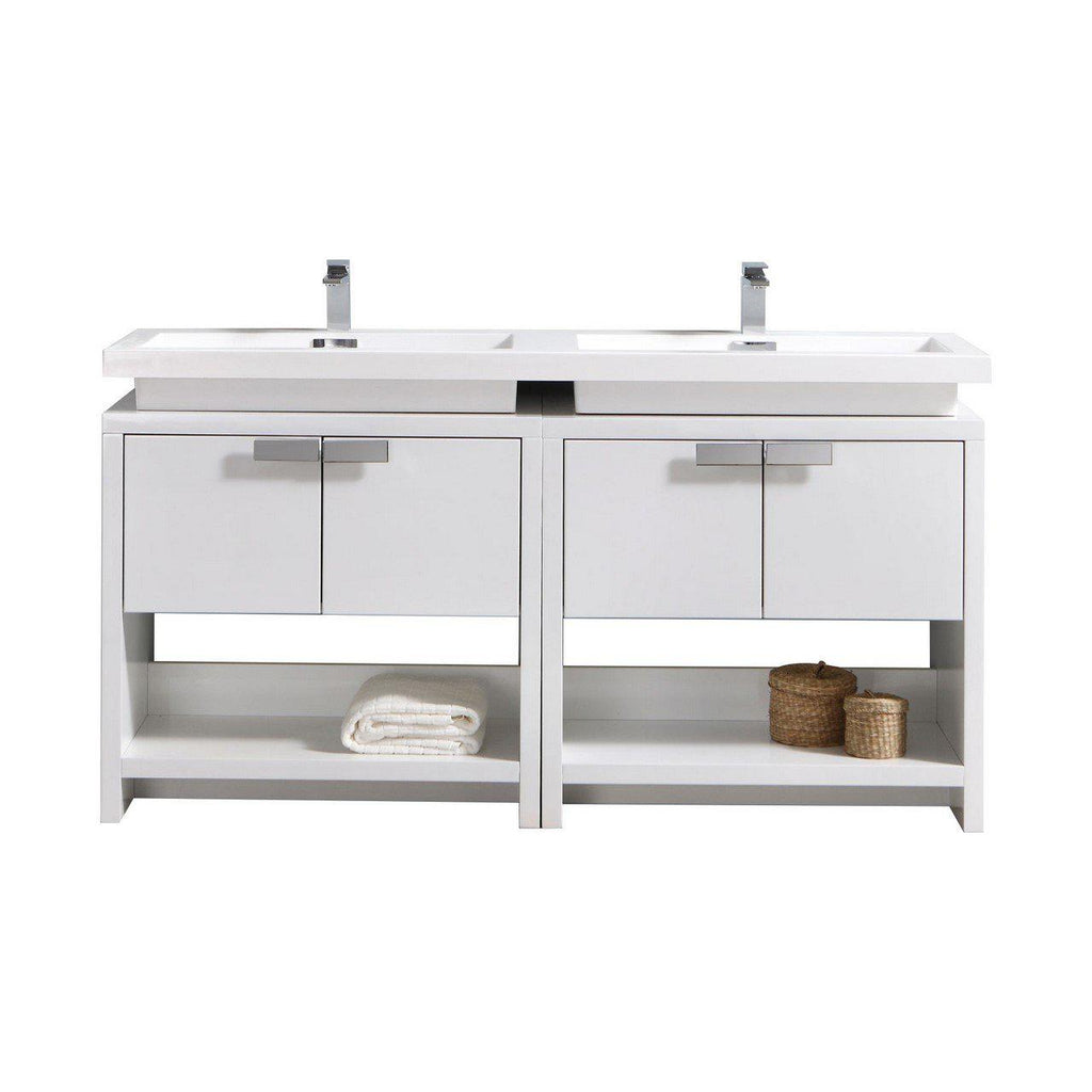 "KubeBath Levi 63"" High Gloss White Bathroom Vanity w/ Cubby Hole - The Modern Vanity"
