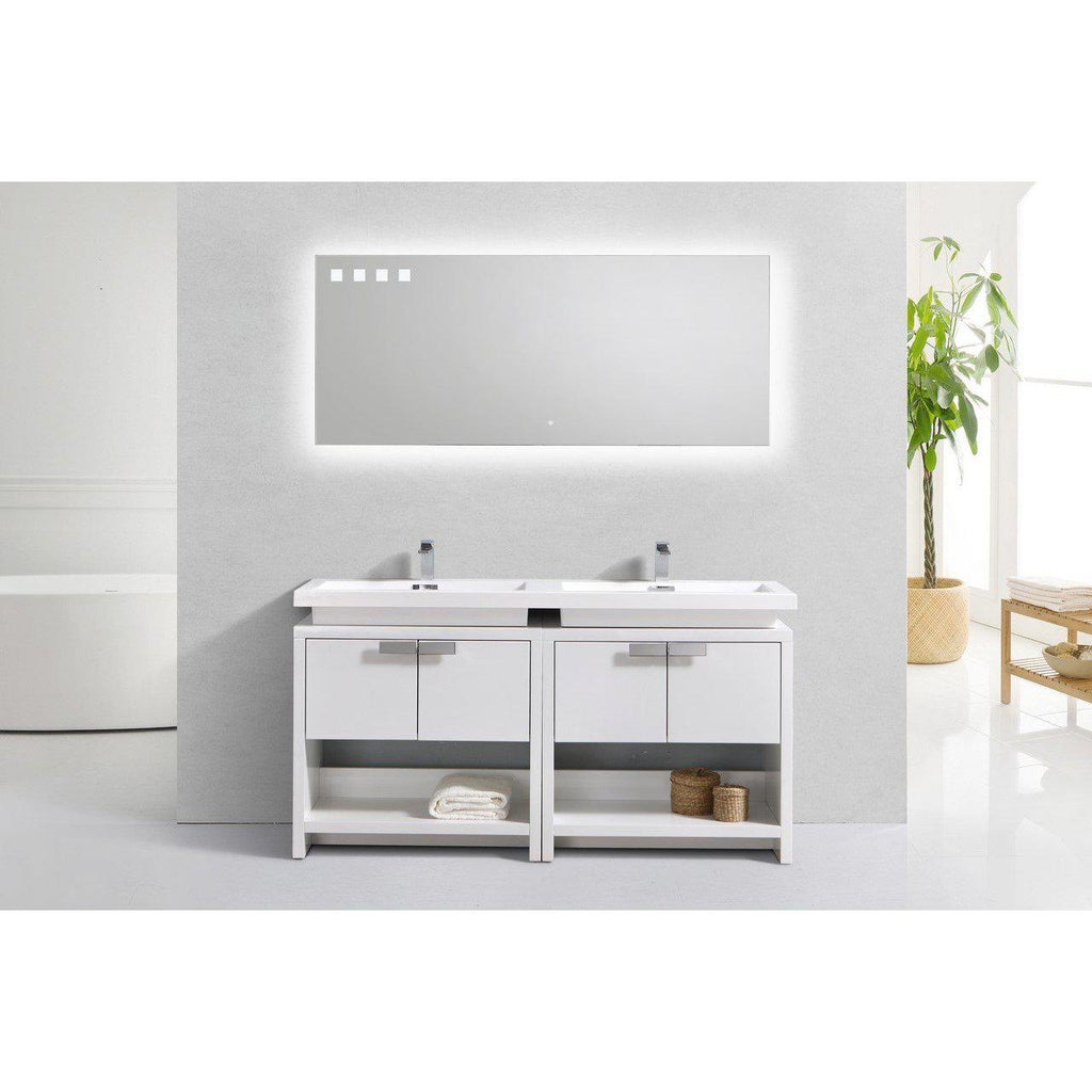 "KubeBath Levi 63"" High Gloss White Bathroom Vanity w/ Cubby Hole"