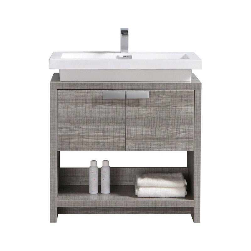 "KubeBath Levi 32"" Ash Gray Bathroom Vanity w/ Cubby Hole - The Modern Vanity"