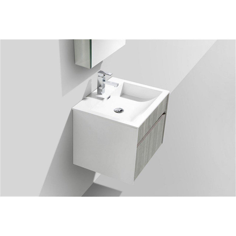 "KubeBath Fitto 24"" Ash Gray Floating Vanity"