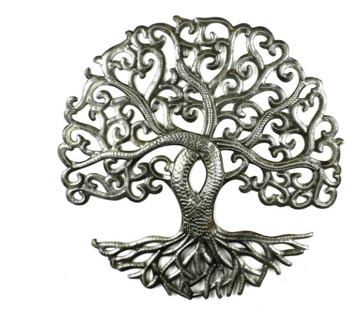 Tree of Life Metal Wall Decor- handcrafted from steel drums in Haiti- Indoor/outdoor - Give Back Goods