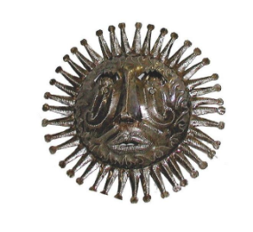Sun Face Metal Wall Decor- handcrafted from steel drums in Haiti- Indoor/outdoor - Give Back Goods