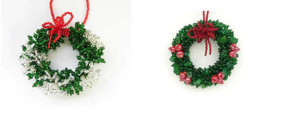 Set of 2 Wreath Glass Bead ornaments- Handmade - Fair Trade - Give Back Goods