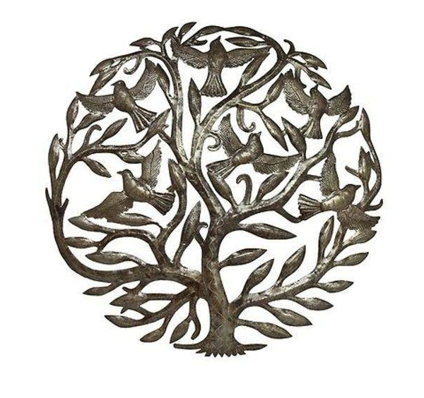 "24"" Handcrafted Tree of Life & Birds Metal Wall Decor made from steel drums in Haiti- Fair trade - Give Back Goods"