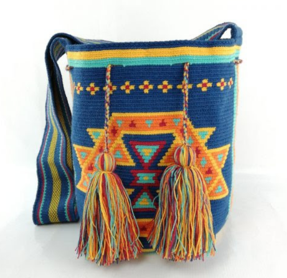Wayuu Bag, Fair Trade, one of a kind, handmade, Blue