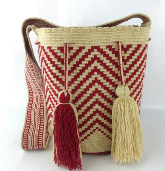 Wayuu Bag, Fair Trade, one of a kind, handmade, Red & Natural