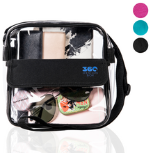 "Load image into Gallery viewer, 8"" Clear Cross-Body Messenger Bag Available in 3 Colors - Stadium Approved Clear Bag"