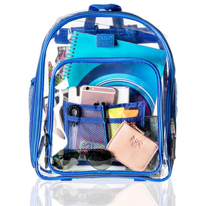 Clear Backpack and Matching Pencil Case, Transparent Travel Bag and Heavy-duty Bookbag, Available in 3 Colors
