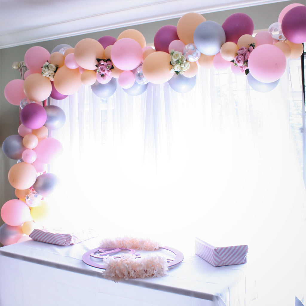 Bespoke Balloon Garland Installation Ruislip I Pink, Blush, Chrome Silver and Chrome Pink I My Dream Party Shop I UK