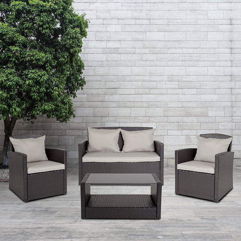 Apopka 4 Piece Black Patio Set with Gray Back Pillows Seat Cushions