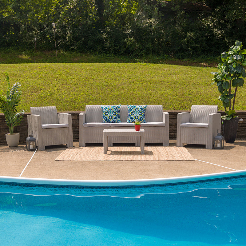 Miami Light Gray 4 Piece Outdoor Faux Rattan Chair Sofa and Table Set