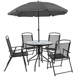 Lucia 6 Piece Black Patio Garden Set with Table Umbrella and 4 Folding Chairs