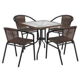 Milan 5 Piece Dark Brown Glass Patio Table Chair Set