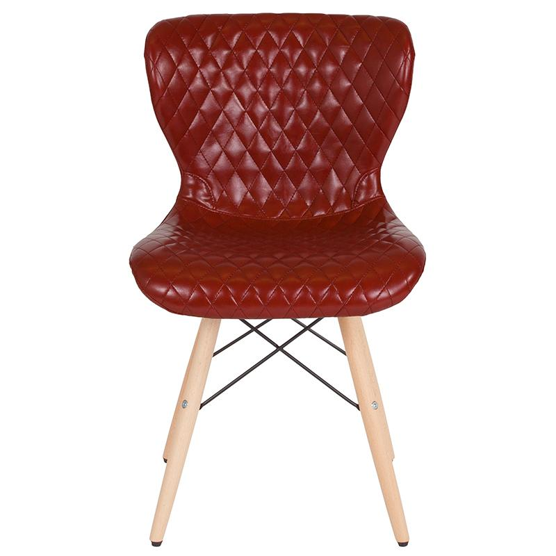 Riverway Red Vinyl Upholstered Chair Natural Wooden Legs