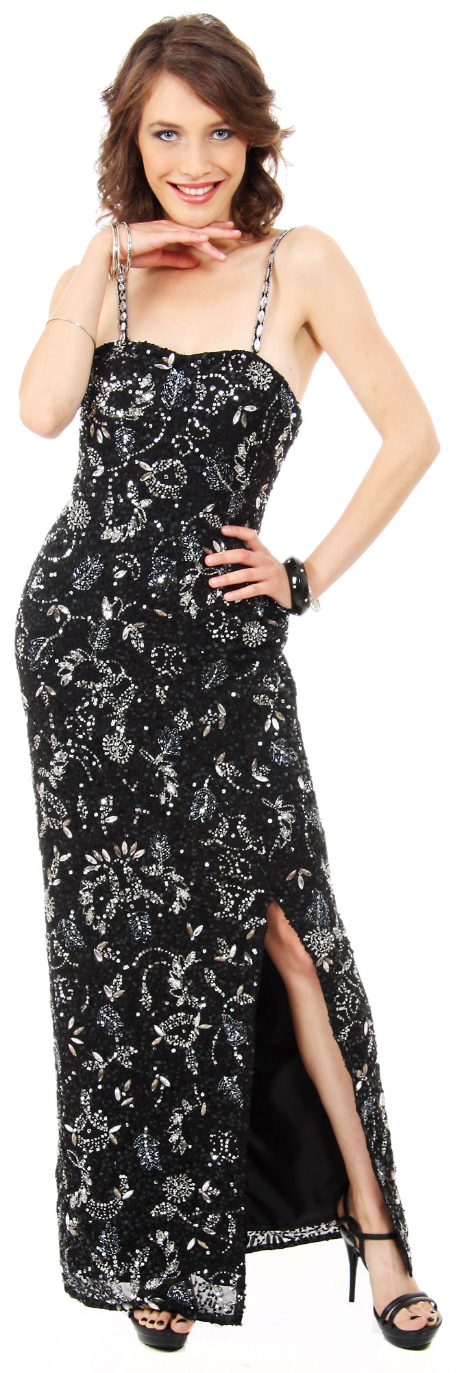 Main image of Strapless Sequins & Rhinestones Long Formal Dress With Slit