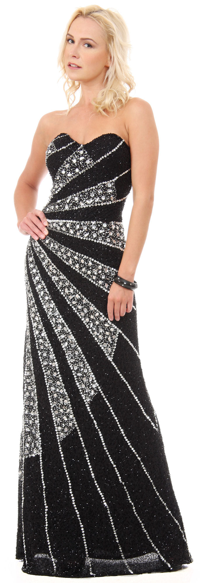 Main image of Strapless Sequins & Rhinestones Long Formal Prom Dress