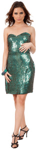 Main image of Strapless Sequin Beaded Short Formal Prom Dress
