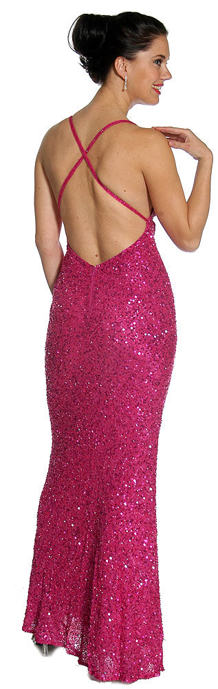 Image of Swirled Design Bodice Formal Prom Dress in Fuchsia back view
