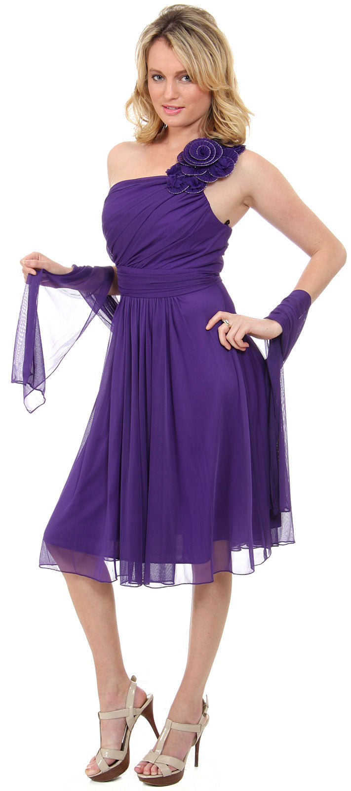 Image of One Soulder Floral Accent Short Party Dress  in Purple