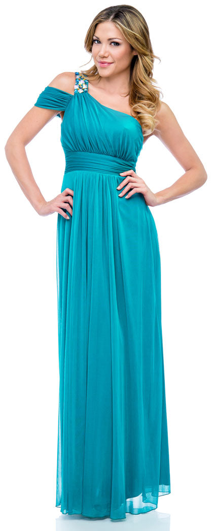 Image of One Shoulder Long Formal Dress With Bejeweled Strap in Dark Turquoise