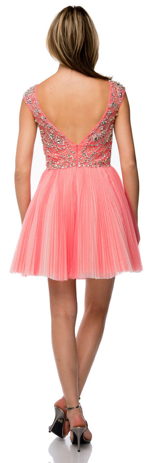 Back image of Bejeweled Short Party Prom Dress With Mesh Skirt